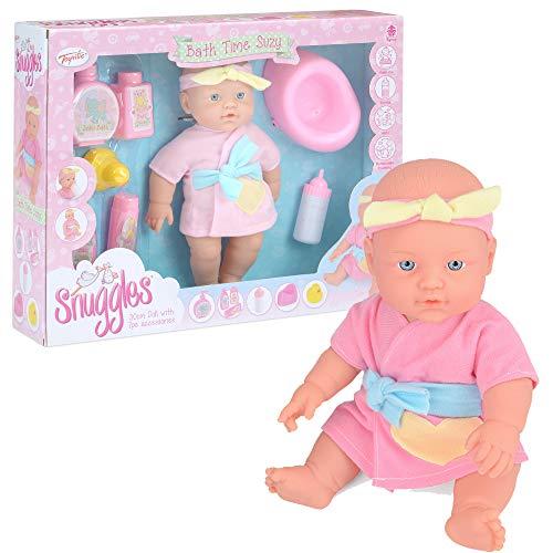 Toyrific Snuggles Baby Doll, corpo rigido impermeabile con accessori per bambola, bagno time Suzy