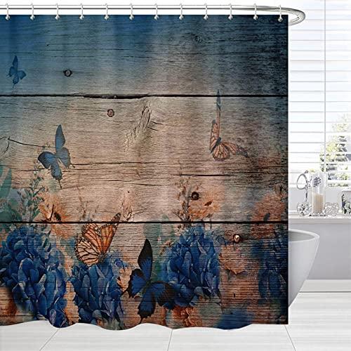 Landhaus-Themen-Duschvorhang, Vintage-Monarch-Schmetterlings-Blume auf Grunge Holz-Kunstdruck, Bauernhaus-Vorhang für Bad Dusche, rustikaler wasserdichter Stoff, Badezimmer-Dekor-Set mit Haken