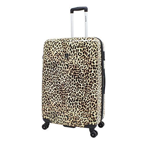 Saxoline - Trolley rigido da viaggio, 77 cm, motivo leopardato