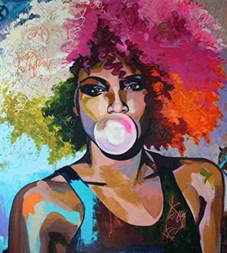 HAON DIY olieverfschilderij Verf op nummer Kits Schilderij Vrouw blaast bellen Kunst op canvas voor woonkamer Home Decor 40x50cm Frameloos