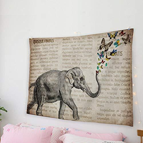 AdoDecor Periódico Elefante decoración de la Pared decoración de la Pared Colcha Tapiz Arte de la Pared Manta Ropa de Cama Tiro 150x200cm