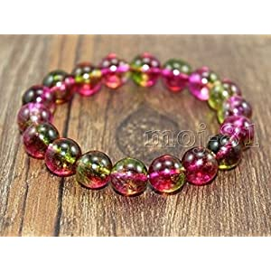 Genuine Watermelon Tourmaline Gemstone Beaded Bracelet