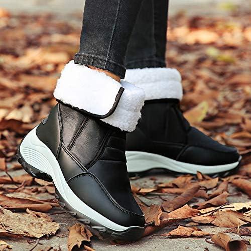IWxez Bottes de Neige pour Femmes en PU (polyuréthane) Bottes de Travail Tout-Aller Chaussures de randonnée à Talon Plat Botte Arrondie Bottes mi-Mollet Couture en Dentelle Beige Bleu Rose