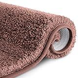 RenFox Alfombra de Baño de Microfibra Esponjosa Alfombra Baño Absorbente y Antideslizante Suave Alfombra de Ducha Lavable a Máquina 50x80x3cm (Marron Oscuro)