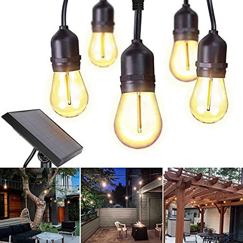 Lichterkette Außen,GOESWELL 16 Stück 1w Edison Vintage LED Glühbirne Partybeleuchtung,Solarlampen für Aussen,USB Wiederaufladbar Solarlichterkette für Haus,Garten,Patio,Party,Hochzeit,Weihnachten.