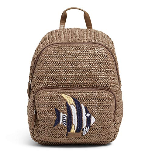 Vera Bradley Mini Convertible Backpack, Warm Stone Straw