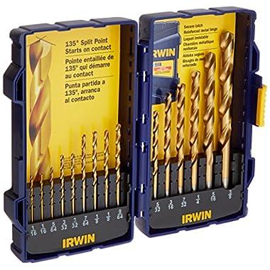 Irwin Tools 4935607 Titanium Coated High-Speed Steel Drill Bit Set, Pro Case, 15-Piece
