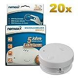 20x Detector de Humo Nemaxx Mini-FL2 Mini Detector de Fuego y Humo Detector con batería de Litio de Acuerdo con la Norma DIN EN 14604