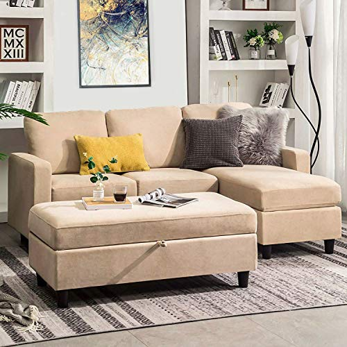 HONBAY Sectional Sofa with Ottoman L Shaped Couch Sleeper with Storage Ottoman Sectional Sofa with Chaise, Beige