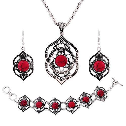 U-M PULABO - Conjunto de joyas para mujer, plata tibetana para mujer, collar y pendientes colgantes con turquesa, color rojo y duradero en uso nuevo lanzado