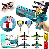 SOITPOP Bubble Catapult Plane Kit, Airplane Toy with 4 Glider Plane Launcher & 2 Parachute, One-Click Ejection Model Foam Airplanes, Outdoor Sports Flying Toys for Kid Gifts (Blue)