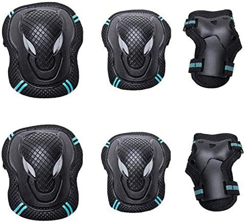 Sporthomer 6Pcs Knee Pads Elbow Pads Wrist Guards Protective Gear Set for Multi Sports Skateboarding Inline Roller Skating Cycling Biking BMX Bicycle Scooter for Men/Women(Blue L)