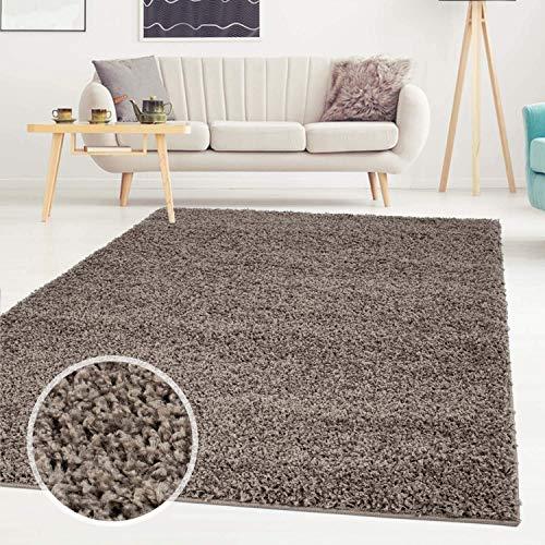 ayshaggy Shaggy Teppich Hochflor Langflor Einfarbig Uni Mocca Weich Flauschig Wohnzimmer, Größe: Läufer 60 x 110 cm