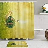 GugeABC Juego de Cortinas y tapetes de Ducha de Tela,Caracol Casa fantasía Arrastre molusco Animal,Cortinas de baño repelentes al Agua con 12 Ganchos, alfombras Antideslizantes