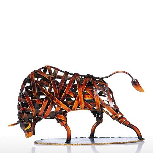 Tejido de Metales Ganado Rojo Escultura de Hierro Figurilla Abstracta Arte Moderno Decoración del Hogar Regalo del Arte Animal de Tooarts