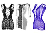Yulaixuan 3 Pares de lencería de Rejilla para Mujer Mesh Badydoll Ahuecado con Estampado Mini Vestido Ver a través de la Ropa de Dormir de Malla Chemise (1 Negro / 1 Blanco / 1 púrpura, Grupo Dos)