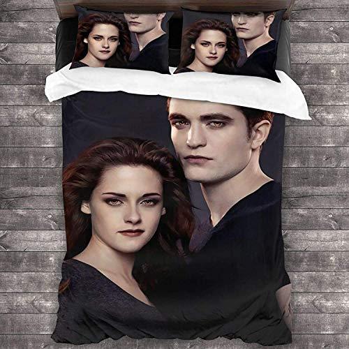 The Twilight saga - Juego de ropa de cama con impresión digital 3D, muy suave, de alta calidad, fácil cuidado, 2 fundas de almohada (Twilight3, 140 x 210 cm + 50 x 75 cm x 2)