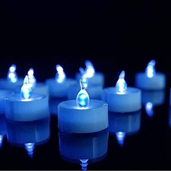 无焰 LED Tealight 逼真蓝色闪烁 LED 蜡烛带定时器电池供电闪烁 LED 蜡烛万圣节婚礼圣诞餐桌家居装饰