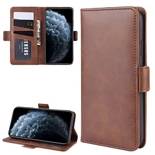 DOMINIC Caja del teléfono -por iPhone 11 Pro Double Hebilla Crazy Horse Business Phone Webster Funda con la función de Soporte de la Cartera Precioso (Color : Brown)