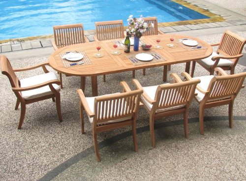 """Big Sale Best Cheap Deals New 9 Pc Luxurious Grade-A Teak Dining Set - 94"""" Oval Table and 8 Stacking Arbor Arm Chairs"""