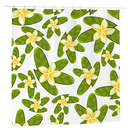 Grün-gelbe Frischblumen-Duschvorhang für Badezimmer, Stoff, 183 x 183 cm, wasserdicht, wiederverwendbar
