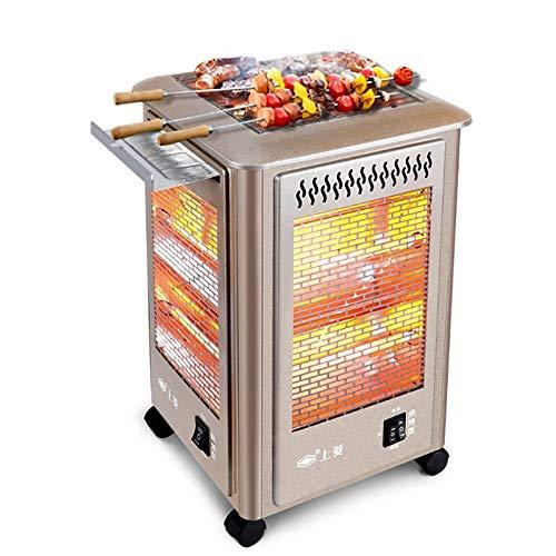 DYCLE Calefactores de Patio, Calefactor eléctrico Exterior con función de Barbacoa, Calefacción de Tubo de Cuarzo, Temperatura controlable, Parrilla calefactora de jardín
