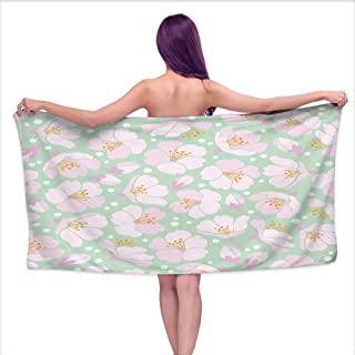 Tankcsard Bath Towel wrap for Women Seamless Background with Apple Blossom,W12 xL35 for bathrooms, Beaches, Parties