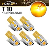 Partsam 5x Amber Yellow 10-5730-SMD Super Bright 168 2825 W5W 194 T10 LED bulbs Replacement For Cab Marker Clearance Top Roof Running Lights 12V Car Light