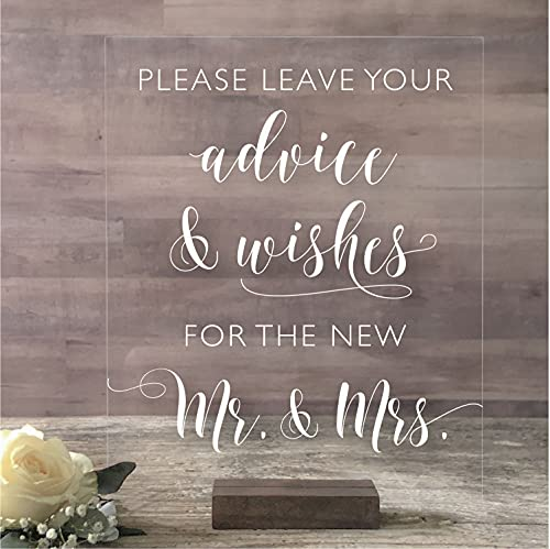 MR & MRS Sign – Wedding Tabletop DécorPlease Leave your Advice and Wishes for the New Mr. & Mrs. Clear Acrylic Wedding Sign - White Ink on Clear Acrylic Sheet and Oak Stain Wood Base
