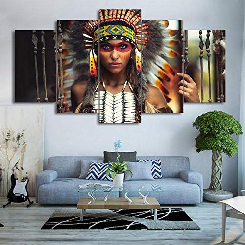 BHJIO Impresiones sobre Lienzo 5 Cuadros En Lienzo Modernos Dormitorios Murales Pared Lona XXL Grande Hogar Cuadros Decora Salón Piezas Muchacha India