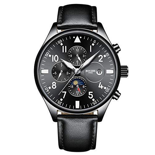 Reloj de Pulsera Minimalista Reloj automático para Hombre Reloj con Movimiento mecánico -B