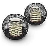 Navaris Set de 2X Farol Solar LED - Faroles solares de Exterior - Lámparas solares para iluminación de jardín Piscina - Velas con Esfera Decorativa