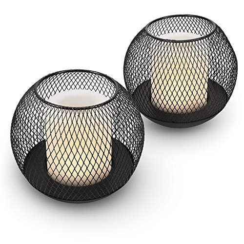 Navaris Solar Garden Candles - Set of 2 LED Solar Sun Powered Outdoor Candle Lanterns for Gardens, Patio, Driveways - Rechargable Ornamental Lighting