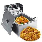 Dancal Friggitrice, friggitrice elettrica in Acciaio Inossidabile da 6 Litri con cestello per Uso Domestico e Commerciale, Presa Europea 220-240 V