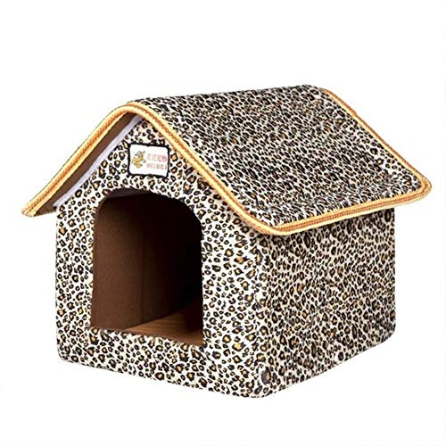 YMYGCC Pet Bed Pet Dog House Foldable Bed With Mat Soft Winter Dog Puppy Sofa Cushion House Kennel Nest Dog Cat Bed Small Medium Dogs 54 (Color : 1, Size : 46cmx38cmx34cm)