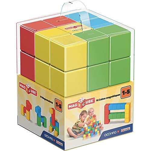 GEOMAG Magicube 1+ Full Color 153 - Cubi Magnetici per Bambini - Monocolore - Confezione da 16 Cubi