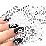5sheet Nail Stickers Black and White French Leaves Retro Flower Vine Pattern Nail Art Stickers Black lace Decorative Nail Accessories Classic Simple DIY Design