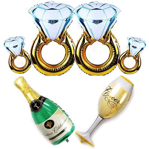 RUIYELE Juego de 6 globos de verano para fiesta – 4 globos de anillo de diamante + botella de champán y globos de copa, para bodas, aniversarios, compromisos, despedidas de soltera