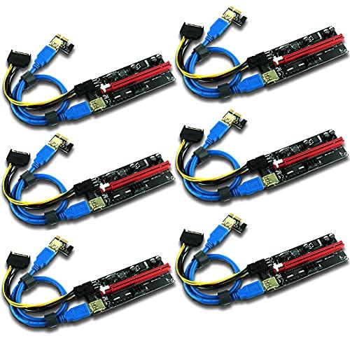 Ziyituod Extensión de gráficos PCIE Riser 1X a 16X para Tarjeta adaptadora Riser con tecnología de minería GPU, Cable USB 3.0 de 60 cm, Dos Cables de 6 Pines y Mole y Cable de alimentación