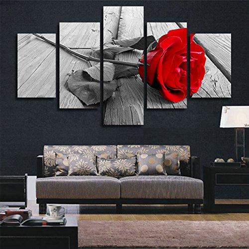 H.COZY 5 pezzi astratta Rose Casa moderna della parete della decorazione della tela di canapa Arte HD Stampa pittura Set di 5 ogni tela Arts Senza cornice FCR01 50 pollici x30 pollici