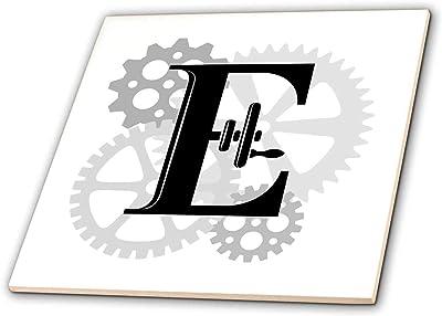 Mechanics 3dRose Alexis Design Gears Monogram Mechanics Grey cogs Awesome Black Letter R Machinery T-Shirts