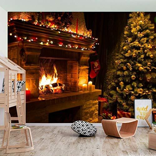Fototapete für Kinder, Weihnachtsbaum, Schornstein, Weihnachtsmann, papier, XXL-390x260cm-6 panels