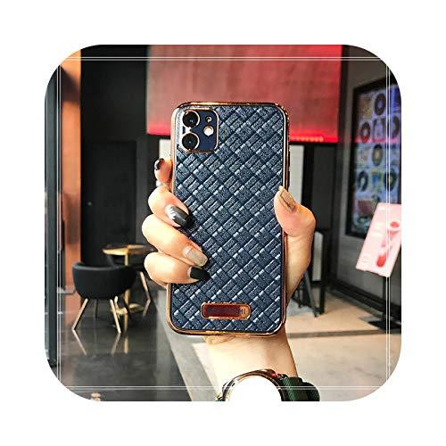 Carcasa de silicona galvanizada para iPhone 11 Pro 7 8 Plus chapado en oro para iPhone XS XR X SE 2020 12 Pro Cases-azul real para 12 Pro Max