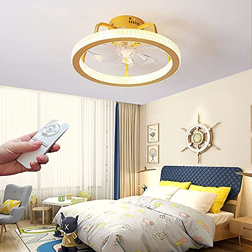 Ventilador de Techo con Luz Ventilador de Luz de Techo LED Silencioso con Control Remoto Regulable Luz de Ventilador LáMpara de Techo con Fan de Anillo Moderno para Dormitorio Salón 3 Velocidades