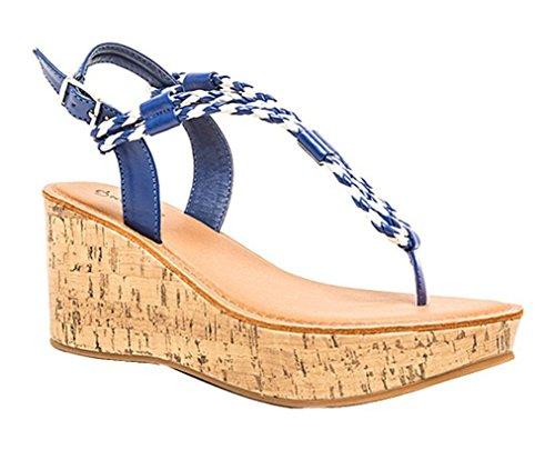 Qupid Women's Bali Strappy Braided Platform Wedge Sandal (8, Cobalt Blue)