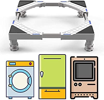 SEISSO Multi-functional Adjustable Base with 4 Strong Feet Movable Appliance Base for Washing Machine, Cookers Dryer and Refrigerator (300kg Load)