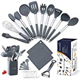 Silicone Cooking utensils set, Jawanfu 17PCS Kitchen Utensils Set with Holder, 446°F Heat Resistant...