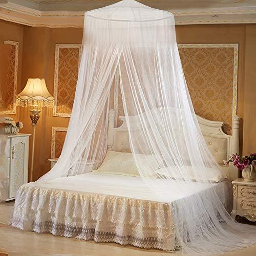 Moskitonetz Baldachin für Doppelbett rundes Mückennetz Bett Himmelbett Vorhang Insektenschutz Weiß