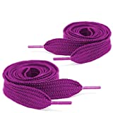Mercury + Maia Extra Wide Shoe Laces - Flat Athletic Fat Shoelaces - Stay Tied - Made in the USA (1 Pair) (63, Electric Fuchsia)