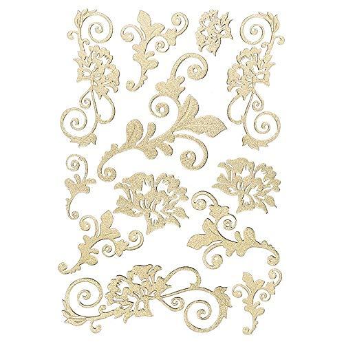 Ideen mit Herz 3-D Sticker Deluxe | Zur Hochzeit, Verschiedene Hochzeitsmotive | Erhabene Aufkleber | Bogengröße: 21 x 30 cm (Blumenranken | Gold)